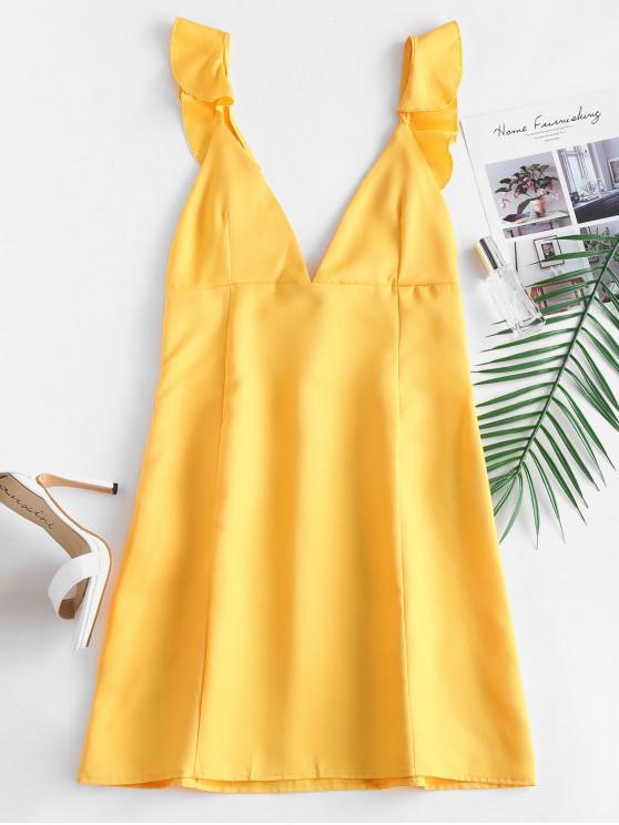Mini vestido con volantes y espalda abierta - Amarillo Brillante L