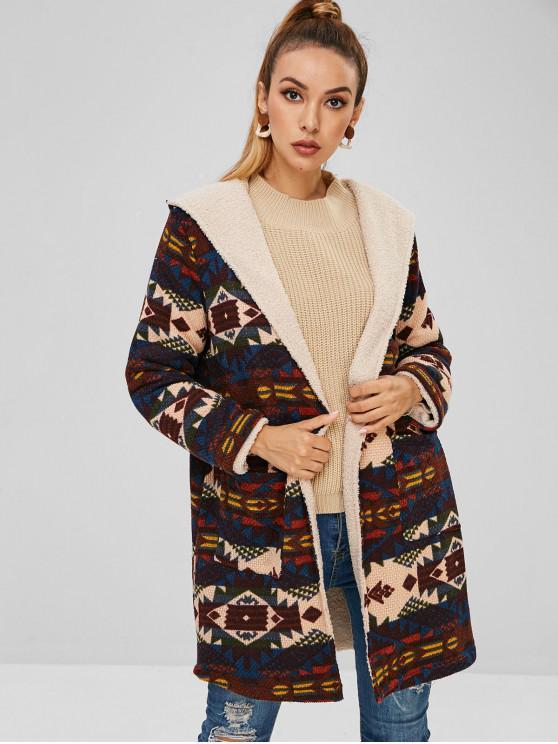 trendy Open Front Fur Lined Geometric Hooded Coat - MULTI S