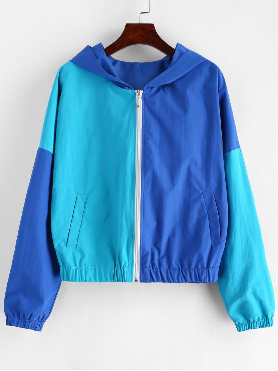 ladies ZAFUL Zip Up Two Tone Windbreaker Jacket - SILK BLUE S