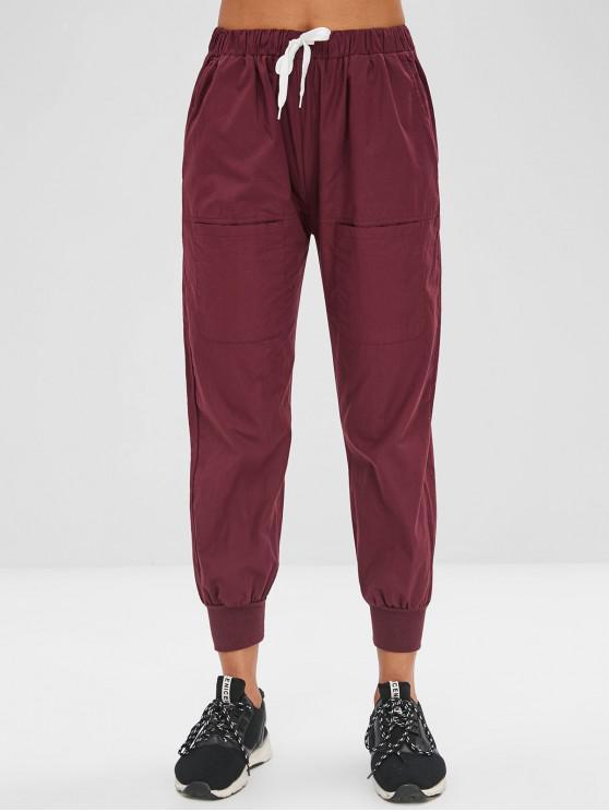 fancy Pockets Drawstring Pants - PLUM VELVET XL
