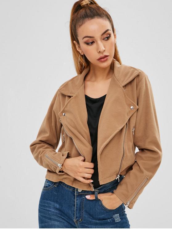 fashion Zippered Fleece Jacket - BROWN S
