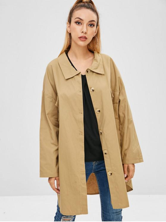 ladies Front Pocket Trench Coat - KHAKI L