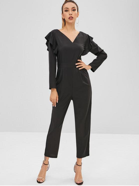 fashion Ruffles Long Sleeve Jumpsuit - BLACK M