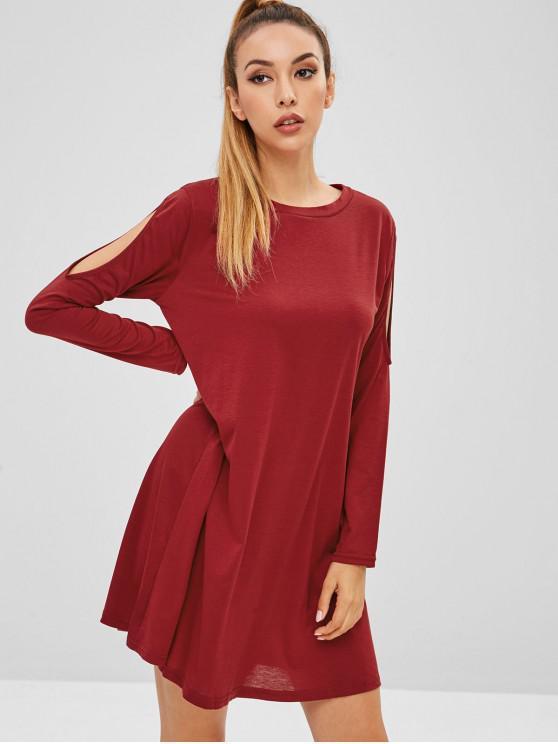 hot Cutout Trapeze Dress - RED WINE M