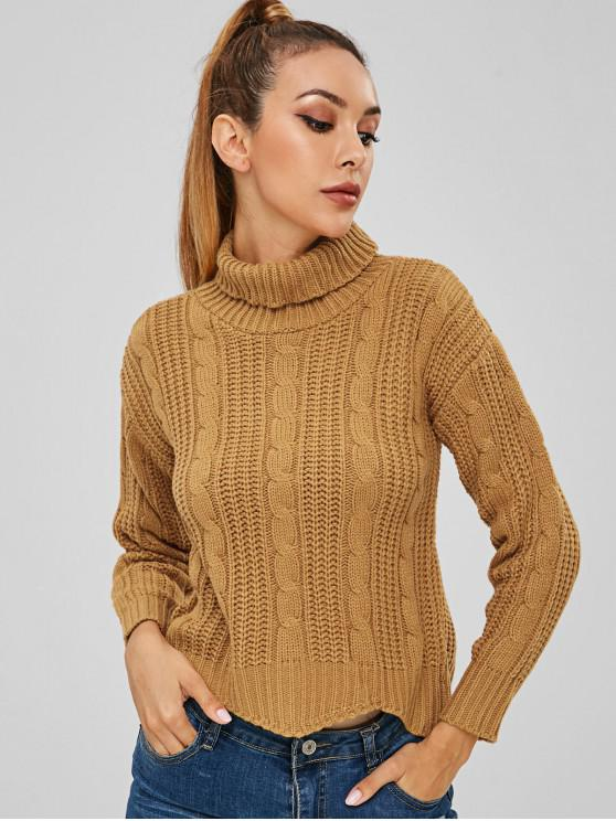 ladies Cable Knit Turtleneck Crop Sweater - BEE YELLOW ONE SIZE
