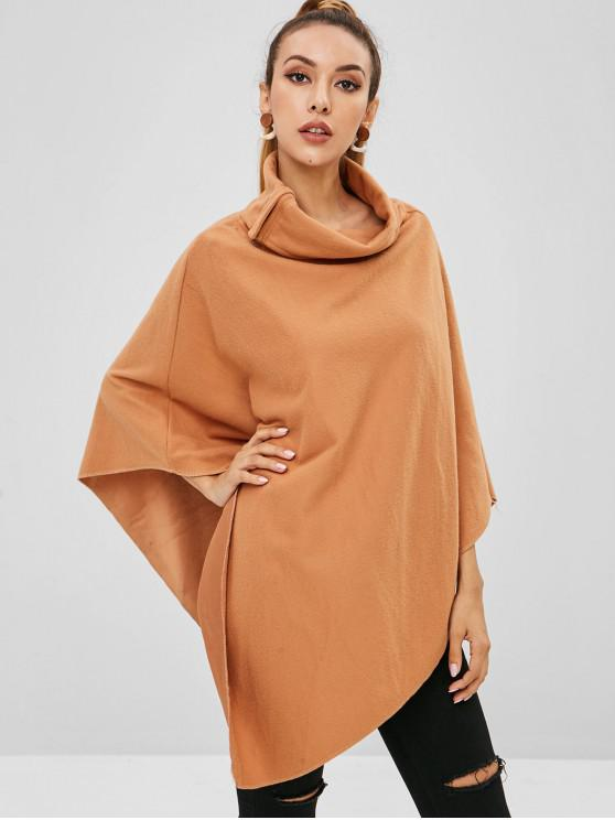 affordable Cowl Neck Fleece Poncho Top - LIGHT BROWN L