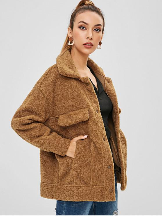 women's Pockets Faux Fur Teddy Coat - COFFEE XL