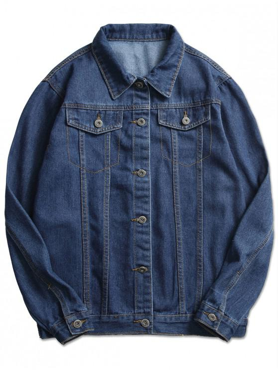 sale Stitch Casual Denim Jacket - DENIM DARK BLUE XS