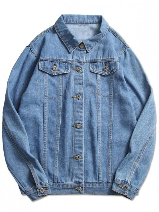 womens Stitch Casual Denim Jacket - LIGHT BLUE M