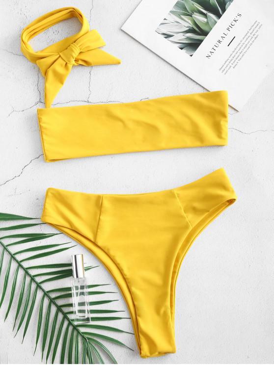 Bikini de Bralette de pierna alta multway - Marrón Dorado S