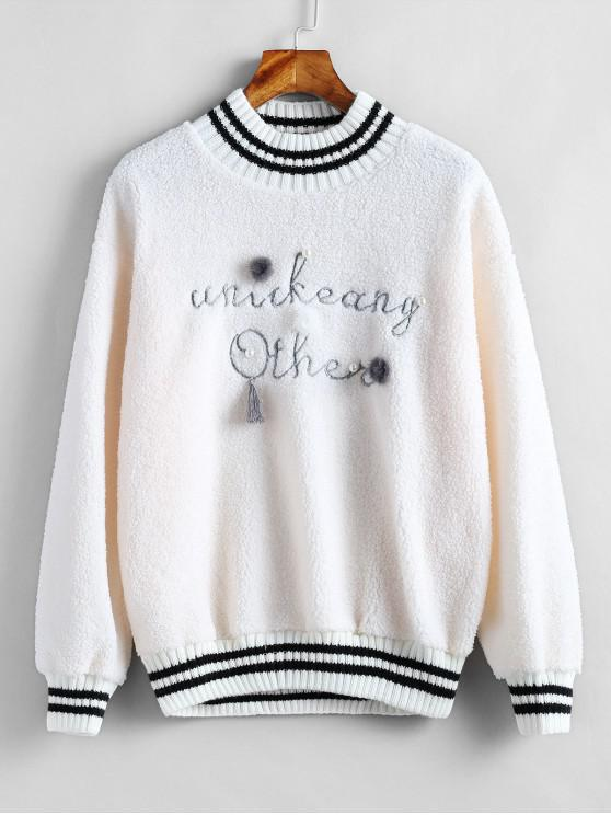 women's Graphic Embellished Pullover Fleece Sweatshirt - WARM WHITE ONE SIZE