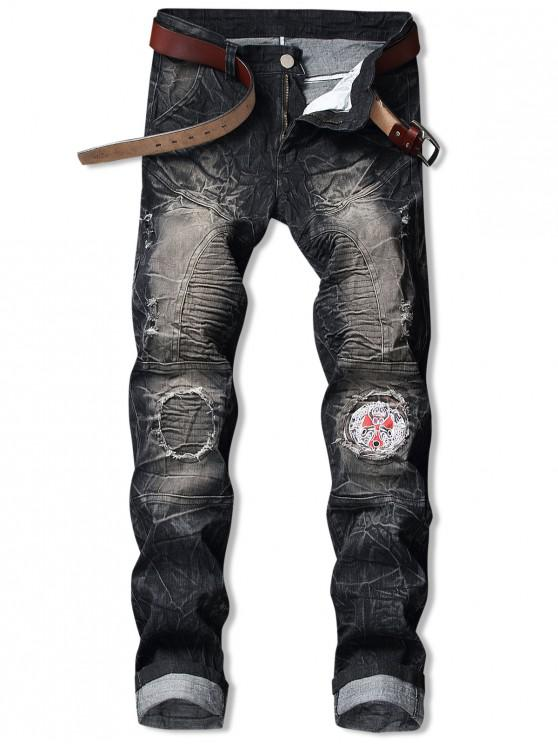 unique Embroidery Patchwork Ripped Pleated Faded Jeans - BLACK 34