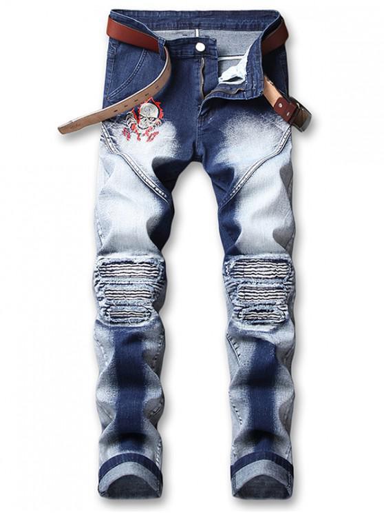 fashion Skull Embroidery Knee Pleated Faded Jeans - DENIM DARK BLUE 32