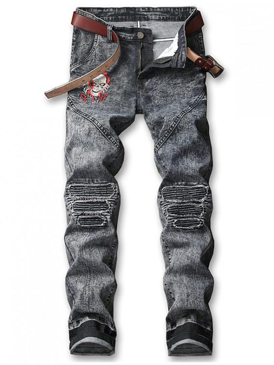 women's Skull Embroidery Knee Pleated Faded Jeans - DARK SLATE GREY 38
