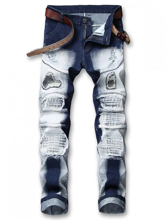 shops Hole Camo Patchwork Ripped Jeans - DENIM DARK BLUE 38