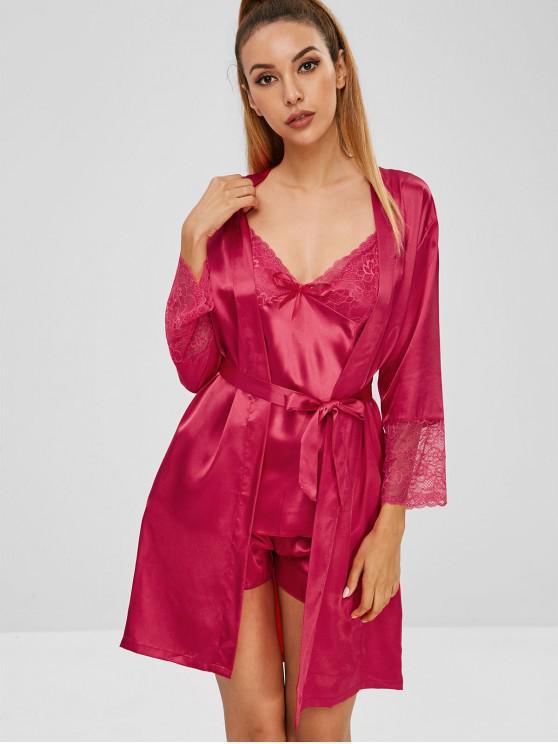 Pyjama aus Satin mit Schleife und Spitzeneinsatz - Rot XL