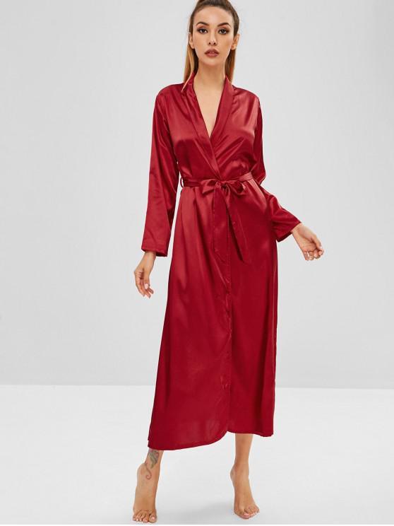 Longline-Pyjama-Robe mit Gürtel - Roter Wein XL