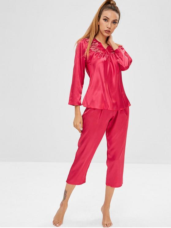 Pijama con cuello en V y bordado satinado - Rojo XL