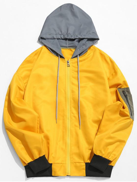 fancy Color Block Sunproof Lightweight Jacket - YELLOW 2XL
