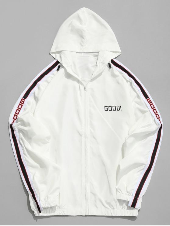 ladies Side Letter Stripe Sunproof Jacket - WHITE 2XL
