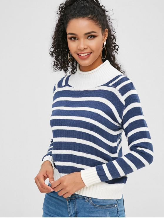 Gestreifter Sweater mit hohem Halsausschnitt - Seiden Blau Eine Größe