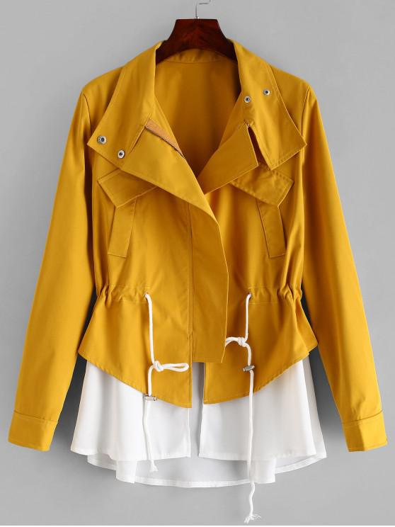 new ZAFUL Contrasting Zip Up Skirted Coat - GOLDEN BROWN M