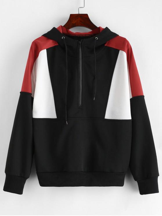 shop ZAFUL Color Block Half Zip Hoodie - WHITE L