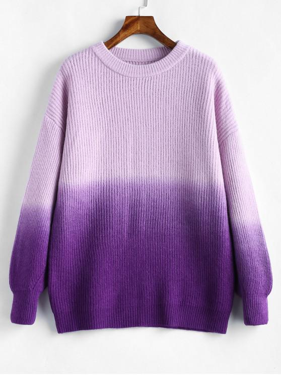 shops Plus Size Drop Shoulder Ombre Sweater - PURPLE ONE SIZE