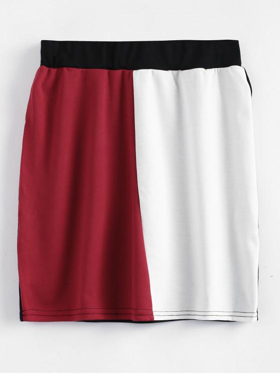 women's High Waisted Color Block Mini Skirt - MULTI L