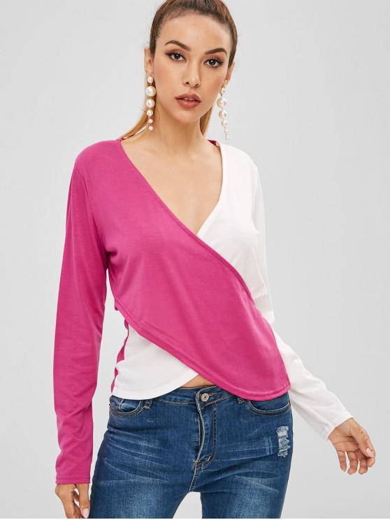 Camiseta de solapamiento en dos tonos con cuello en V - Multicolor M
