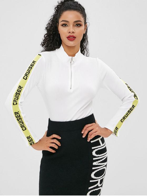 T-shirt à demi-lettre zippé - Blanc M