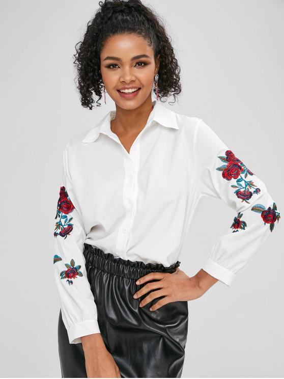 Chemise Boutonnée Fleurie Brodée - Blanc M
