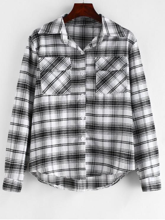 قميص بطية جيوب منقوشة - متعدد L
