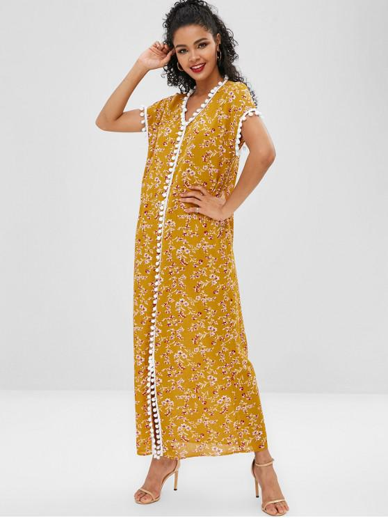 shop Flower Pom Pom Slit Poncho Dress - YELLOW L