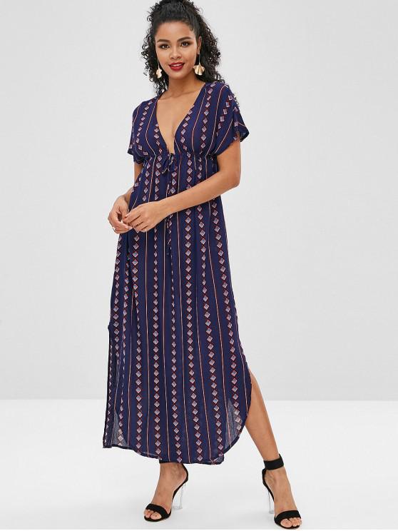 fashion Geometric Plunging Slit Poncho Dress - MIDNIGHT BLUE L