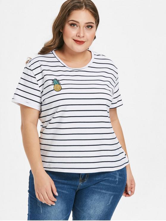 T-Shirt Plus Size A Righe Con Paillettes - Bianca 2X