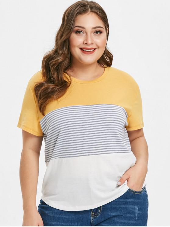 Camiseta de bloque de color a rayas de talla grande - Amarillo 3X