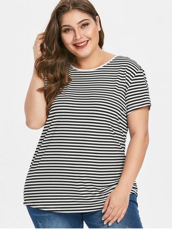 T-Shirt Plus Size A Righe Incrociata Indietro - Nero 2X