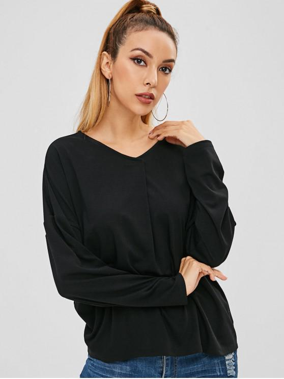buy Drop Shoulder V Neck T-shirt - BLACK M