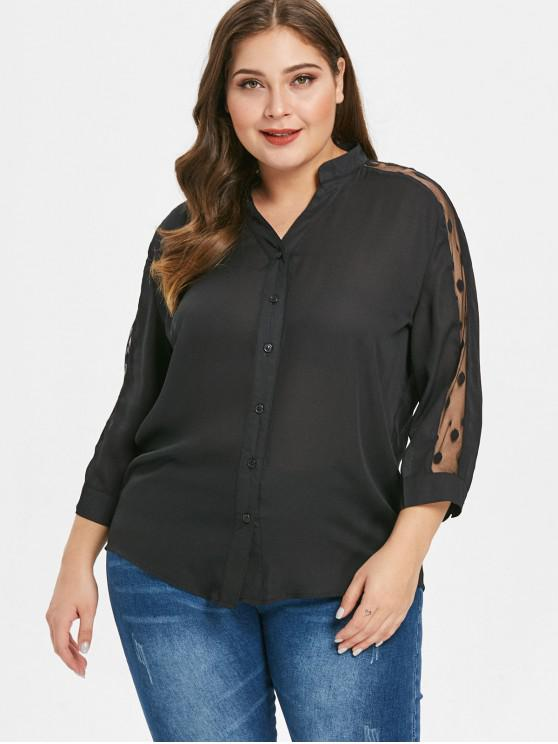 latest Plus Size Mesh Panel Chiffon Blouse - BLACK 1X