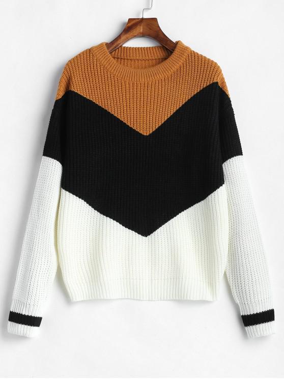 fancy Color Block Zig Zag Jumper Sweater - MULTI-A ONE SIZE