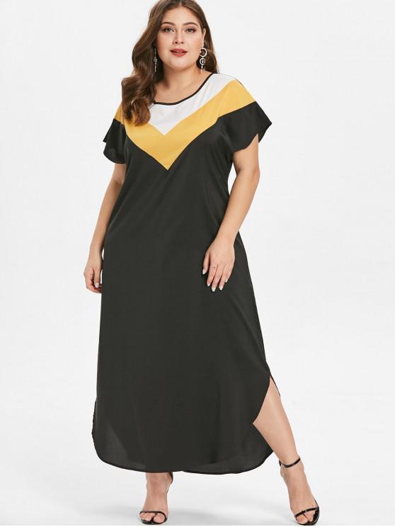 ladies Plus Size Ankle Length Color Block Dress - BLACK 1X
