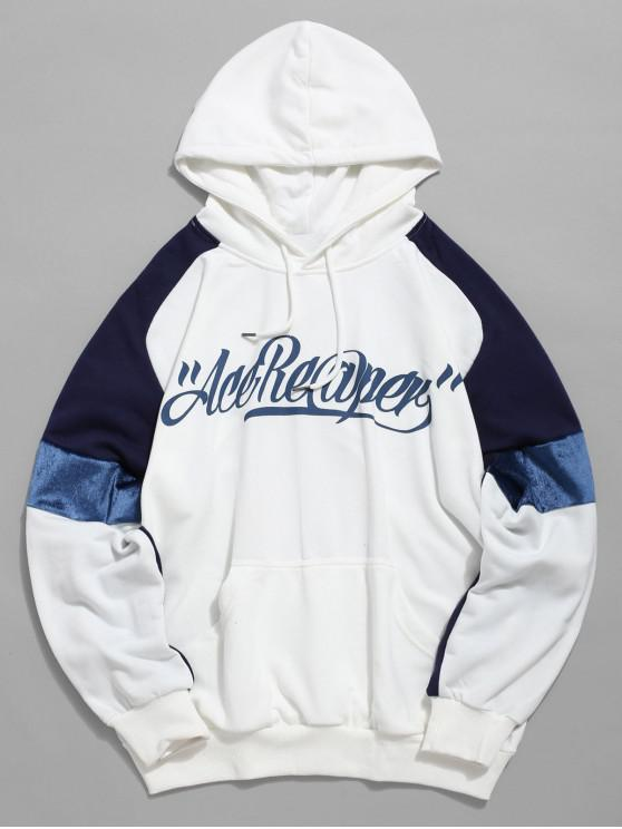 ladies Letters Print Panel Raglan Sleeve Hoodie - BLUE L