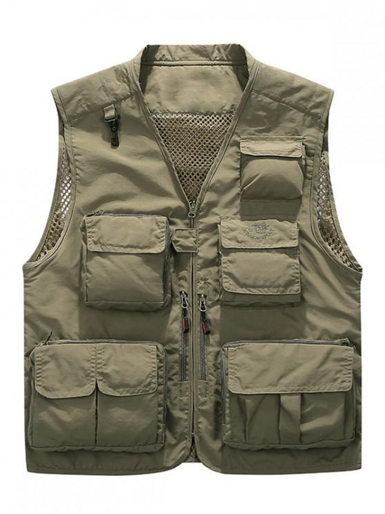 women Multi Pockets Lightweight Mesh Vest - KHAKI XL