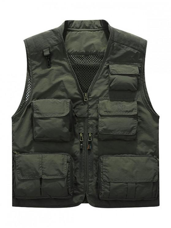 online Multi Pockets Lightweight Mesh Vest - ARMY GREEN XL
