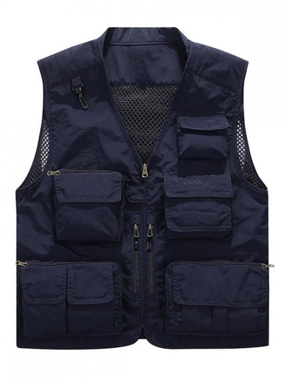 hot Multi Pockets Lightweight Mesh Vest - DEEP BLUE S