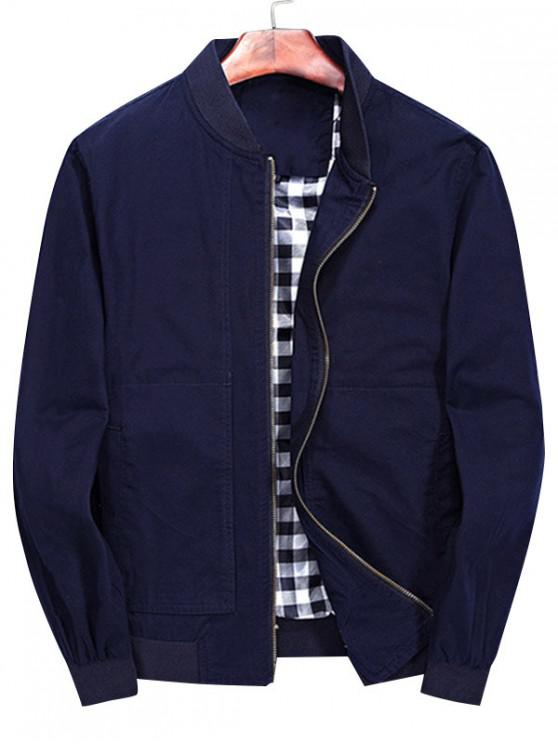 chic Solid Stitch Bomber Jacket - DEEP BLUE XL