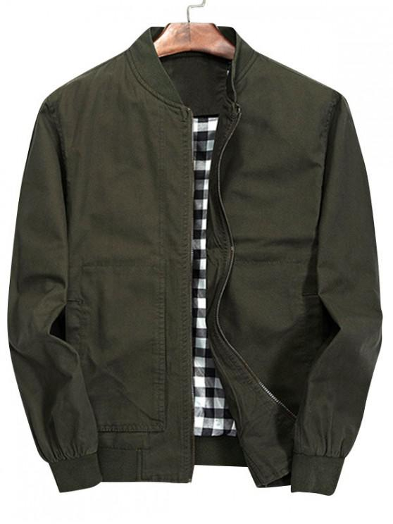 fancy Solid Stitch Bomber Jacket - ARMY GREEN XS