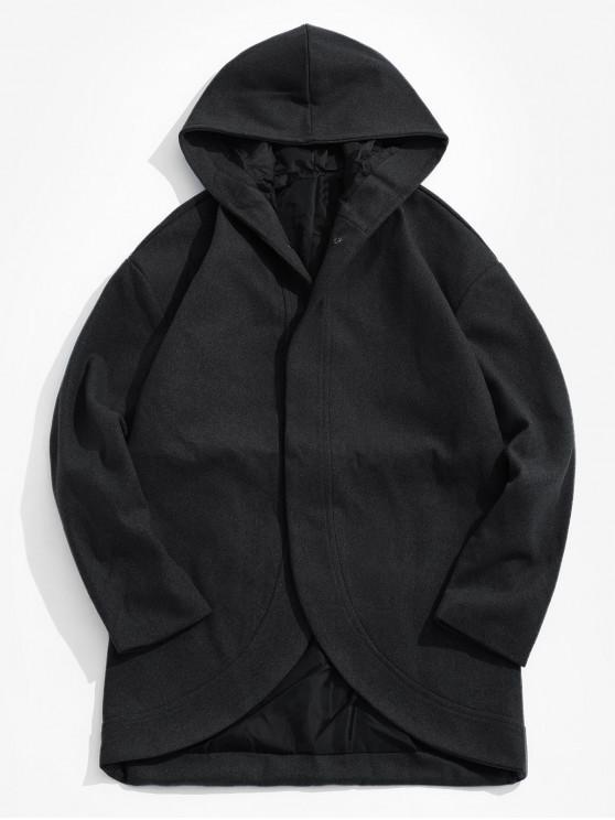 chic Hooded Hidden Button Coat - BLACK M