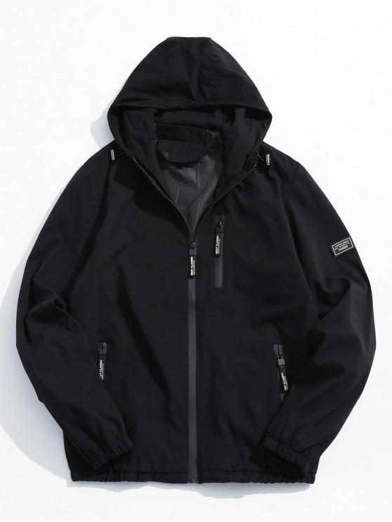 trendy Applique Zip Up Hooded Jacket - BLACK M